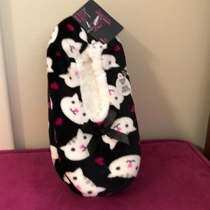 Black cat slipper socks size S-M 5.5 - 7.5